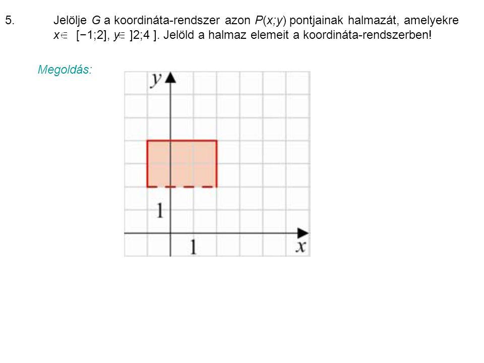 5. Jelölje G a koordináta-rendszer azon P(x;y) pontjainak halmazát, amelyekre x [−1;2], y ]2;4 ]. Jelöld a halmaz elemeit a koordináta-rendszerben!